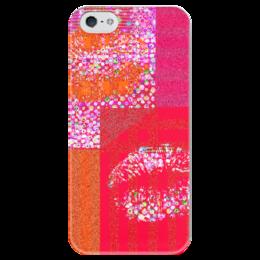 """Чехол для iPhone 5 глянцевый, с полной запечаткой """"Красные углы"""" - красный, розовый, полоски, поцелуи, губы"""