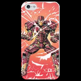 """Чехол для iPhone 5 глянцевый, с полной запечаткой """"Железный человек"""" - комиксы, марвел, iron man, tony stark, тони старк"""