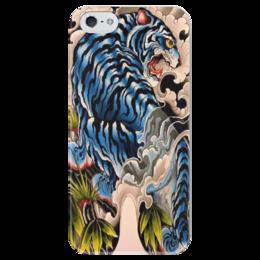 """Чехол для iPhone 5 глянцевый, с полной запечаткой """"тигр."""" - хищник, животные, тигр, зверь"""