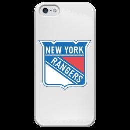 """Чехол для iPhone 5 глянцевый, с полной запечаткой """"New York Rangers"""" - хоккей, hockey, спортивная, nhl, нхл, rangers, new york"""