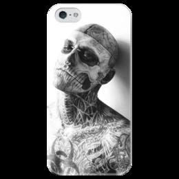 """Чехол для iPhone 5 глянцевый, с полной запечаткой """"Zombie Boy"""" - арт, zombie boy, рик дженест, rick genest, парень-зомби"""