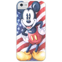 "Чехол для iPhone 5 глянцевый, с полной запечаткой ""Mickey"" - микки маус, дисней, usa, олдскул, old school, mickey mouse, cartoon, american"