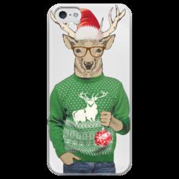 """Чехол для iPhone 5 глянцевый, с полной запечаткой """"Олень новогодний в свитере и очках с шариком"""" - новый год, new year, санта, олень, свитер"""