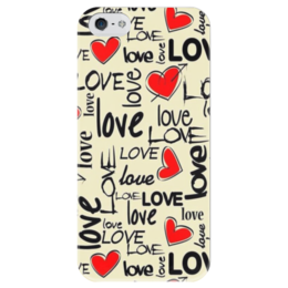 """Чехол для iPhone 5 глянцевый, с полной запечаткой """"Любовь"""" - сердце, любовь"""
