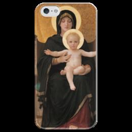 "Чехол для iPhone 5 глянцевый, с полной запечаткой ""Мадонна (картина Бугро)"" - картина, бугро"