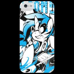 """Чехол для iPhone 5 глянцевый, с полной запечаткой """"DJ-Pon3"""" - mlp, dj-pon3, pony, friendship, magic, пони"""