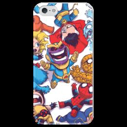 """Чехол для iPhone 5 глянцевый, с полной запечаткой """"Comics Art Series: Танос ликует"""" - рисунок, супергерои, марвел, superhero, танос"""