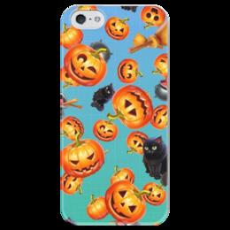 "Чехол для iPhone 5 глянцевый, с полной запечаткой ""Хэллоуин"" - хэллоуин, halloween, black cat, pumpkin"