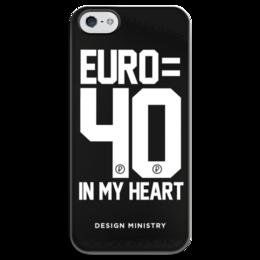 "Чехол для iPhone 5 глянцевый, с полной запечаткой ""EURO 40 by DESIGN MINISTRY"" - россия, евро, euro, нефть, designministry"