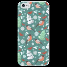 """Чехол для iPhone 5 глянцевый, с полной запечаткой """"Зимний узор"""" - праздник, новый год, узор, птицы, ягоды, birds, синий, снежинки, праздничный, елка"""