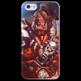 """Чехол для iPhone 5 глянцевый, с полной запечаткой """"WarCraft: Орк"""" - wow, warcraft, орк, варкрафт, ork"""