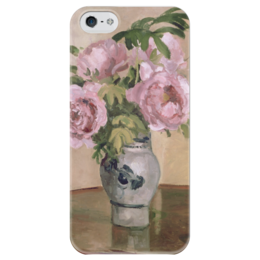 """Чехол для iPhone 5 глянцевый, с полной запечаткой """"Розовые пионы"""" - картина, писсарро"""