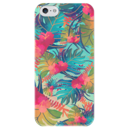 """Чехол для iPhone 5 глянцевый, с полной запечаткой """"Джунгли"""" - цветы, листья, лес, акварель, джунгли"""