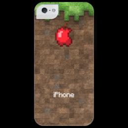 """Чехол для iPhone 5 глянцевый, с полной запечаткой """"Minecraft"""" - case, apple, minecraft, майнкрафт, mine, craft"""