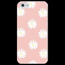 """Чехол для iPhone 5 глянцевый, с полной запечаткой """"Нежные ромашки"""" - pink, ромашки"""