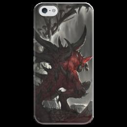 """Чехол для iPhone 5 глянцевый, с полной запечаткой """"Diablo"""" - blizzard, диабло, пещера, близзард"""