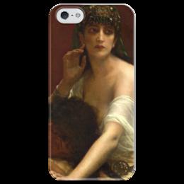 """Чехол для iPhone 5 глянцевый, с полной запечаткой """"Самсон и Далила (картина Кабанеля)"""" - картина, кабанель"""