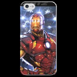 """Чехол для iPhone 5 глянцевый, с полной запечаткой """"Железный человек"""" - комиксы, фантастика, железный человек, ironman"""