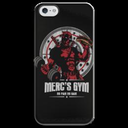 """Чехол для iPhone 5 глянцевый, с полной запечаткой """"Deadpool Merc Gym"""" - deadpool, merc gym"""