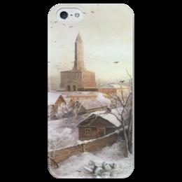 """Чехол для iPhone 5 глянцевый, с полной запечаткой """"Сухарева башня"""" - картина, саврасов"""