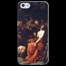 """Чехол для iPhone 5 глянцевый, с полной запечаткой """"Поругание Христа (Картина Кабанеля)"""" - картина, кабанель"""