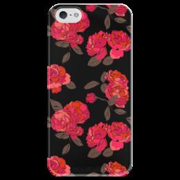 """Чехол для iPhone 5 глянцевый, с полной запечаткой """"Ночной розарий"""" - роза, цветок, подарок, девушке"""