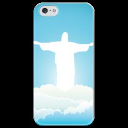 """Чехол для iPhone 5 глянцевый, с полной запечаткой """"Иисус Христос"""" - вера, религия, иисус, бог, сын божий"""