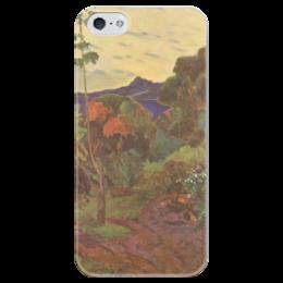 """Чехол для iPhone 5 глянцевый, с полной запечаткой """"Тропические растения"""" - картина, поль гоген"""