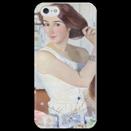 """Чехол для iPhone 5 глянцевый, с полной запечаткой """"За туалетом. Автопортрет"""" - картина, серебрякова"""