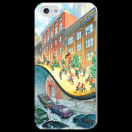 """Чехол для iPhone 5 глянцевый, с полной запечаткой """"Велосипеды вперед!"""" - city, велосипед, biking, go bicycles"""