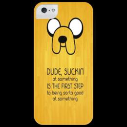 """Чехол для iPhone 5 глянцевый, с полной запечаткой """"Adventure Time - Jake"""" - adventure time, джейк, jake, джэйк"""