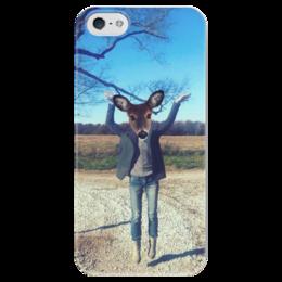 """Чехол для iPhone 5 глянцевый, с полной запечаткой """"flying Fawn"""" - природа, олень, deer, олененок, fawn"""