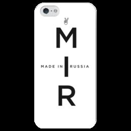 """Чехол для iPhone 5 глянцевый, с полной запечаткой """"МИР. Made In Russia"""" - мир, россия, russia, patriot"""