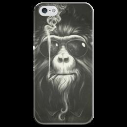 """Чехол для iPhone 5 глянцевый, с полной запечаткой """"Smoke Em If You Got Em"""" - животные, обезьяна, monkey, smoking, приматы"""