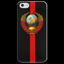 """Чехол для iPhone 5 глянцевый, с полной запечаткой """"CCCP!"""" - ссср, oldschool, кпсс"""