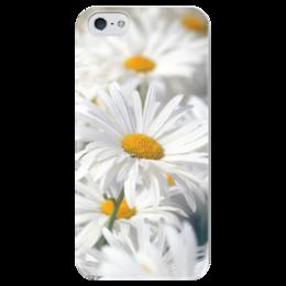 """Чехол для iPhone 5 глянцевый, с полной запечаткой """"Ромашки"""" - цветы, цветок, белый, ромашка, желтый"""