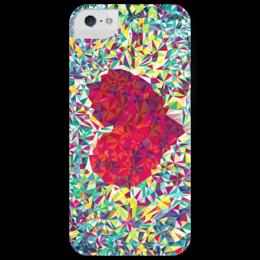 "Чехол для iPhone 5 глянцевый, с полной запечаткой ""feel love"" - сердце, любовь, heart"
