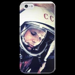 """Чехол для iPhone 5 глянцевый, с полной запечаткой """"Гагарин"""" - space, космос, гагарин, космонавт, yuri gagarin"""