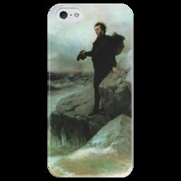 """Чехол для iPhone 5 глянцевый, с полной запечаткой """"Прощание Пушкина с морем"""" - картина, репин, айвазовский"""