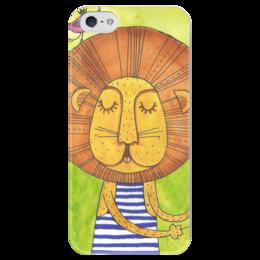 """Чехол для iPhone 5 глянцевый, с полной запечаткой """"Лев Бонифаций в тельняжке"""" - лев, акварель, грива, бонифаций, тельняжка"""