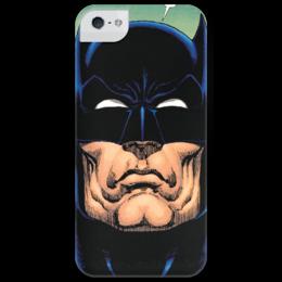 """Чехол для iPhone 5 глянцевый, с полной запечаткой """"Batman Head"""" - iphone, batman, bat, dc, dc comics, бэтмен"""