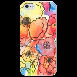 """Чехол для iPhone 5 глянцевый, с полной запечаткой """"Хиппи 60-х"""" - цветы, краски, хиппи, акварель"""