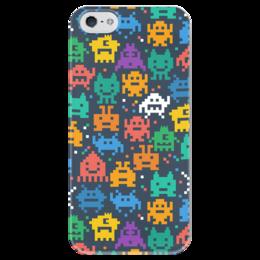 """Чехол для iPhone 5 глянцевый, с полной запечаткой """"Монстры пиксели"""" - minecraft, pacman, монстры, pixel art, пиксели"""
