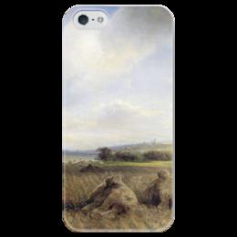 """Чехол для iPhone 5 глянцевый, с полной запечаткой """"К концу лета на Волге"""" - картина, саврасов"""