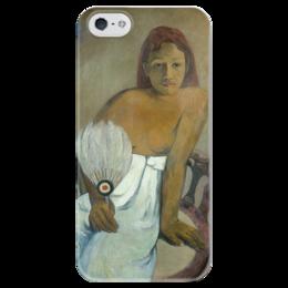 """Чехол для iPhone 5 глянцевый, с полной запечаткой """"Девушка с веером"""" - картина, поль гоген"""