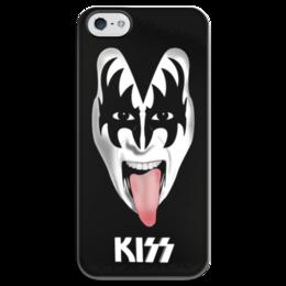 "Чехол для iPhone 5 глянцевый, с полной запечаткой ""Kiss (Кисс)"" - kiss, rock, кисс, рок, метал"