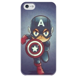 "Чехол для iPhone 5 глянцевый, с полной запечаткой ""Капитан Америка"" - marvel, капитан америка, captain america"
