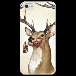 """Чехол для iPhone 5 глянцевый, с полной запечаткой """"олень"""" - олень, deer"""