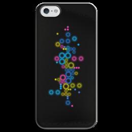 """Чехол для iPhone 5 глянцевый, с полной запечаткой """"Психоделика 2"""" - пузырьки, цвет, абстракция, чёрный фон"""