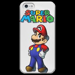 """Чехол для iPhone 5 глянцевый, с полной запечаткой """"Super Mario"""" - mario, dendy, марио, mario bros, 8bit"""
